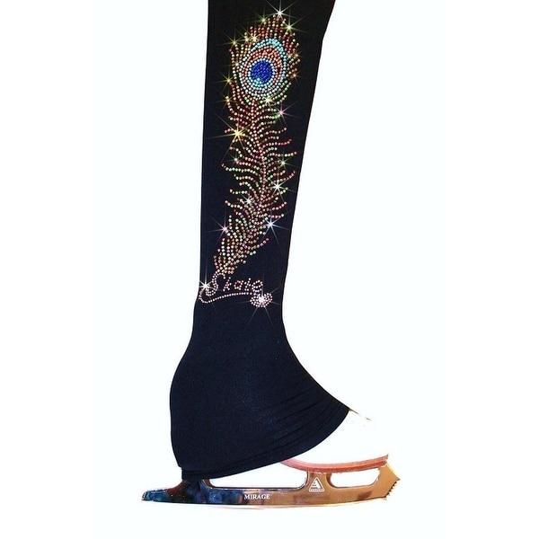 4355431b7796d Ice Fire Skate Black Peacock Feather Rhinestone Skate Pants Girl4-20