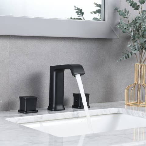PROOX Bathroom waterfall sink faucet tap Two Handle 3 Hole with Drain Assembly