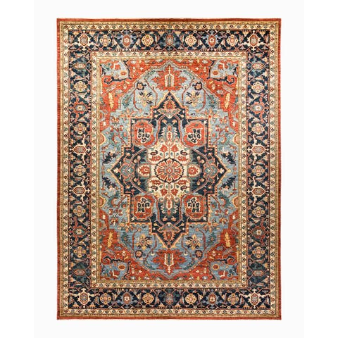 "Oriental Serapi, One-of-a-Kind Hand-Knotted Area Rug - Blue, 10' 0"" x 13' 6"" - 10' 0"" x 13' 6"""
