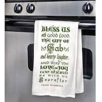 Gift of Gab Tea Towels - Irish Blessing Green /White Kitchen Hand Towel Set of 2