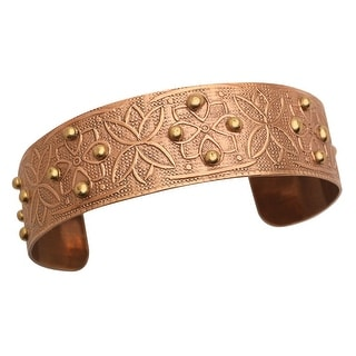 """Women's Chic Copper-Washed Cuff Bracelet - Beaded Floral - Metal - 1"""" Wide - bronze"""