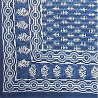 Handmade 100% Cotton Dabu Indian Tapestry Tablecloth Spread Twin Indigo Blues B