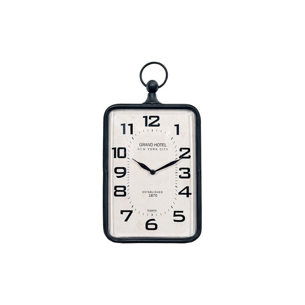 Metal Rectangle Hanging Clock with Handle Decoration on Top. Opens flyout.