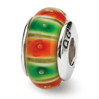 Sterling Silver Reflections Green/Orange Hand-blown Glass Bead (4mm Diameter Hole)