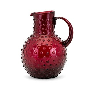 "9.5"" Berry Patch Ruby Red Glass Pitcher with Hobnail Pattern"