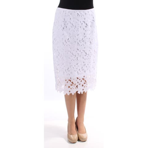 VINCE CAMUTO Womens White Lace Knee Length Pencil Skirt Size: 0