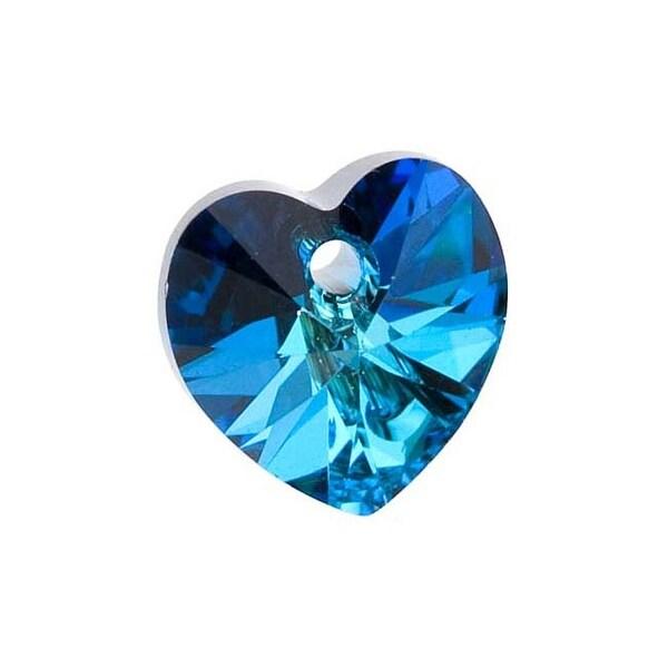 Swarovski Elements Crystal, 6228 Heart Pendants 10mm, 6 Pieces, Bermuda Blue