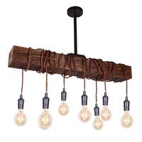 Farmhouse 8-Light Distressed Wood Beam Chandelier
