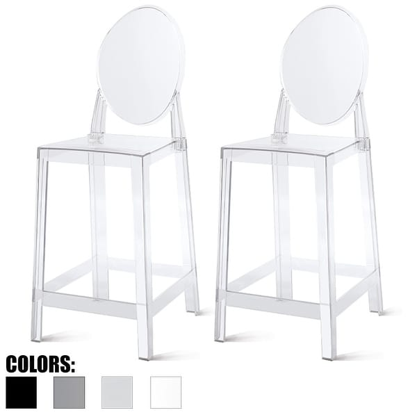 """2xhome - Set of Two (2) - Clear - 25"""" Seat Height With Modern Plastic Chair Side Bar Stool Counter Stool Accent Stools Armless"""