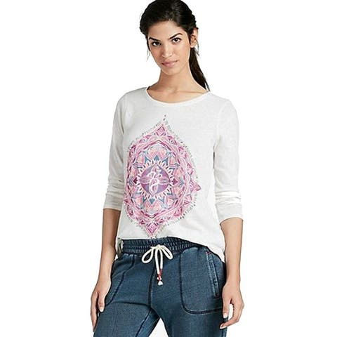 Lucky Brand Womens Cuffed Sleeves Graphic Casual Top White XS