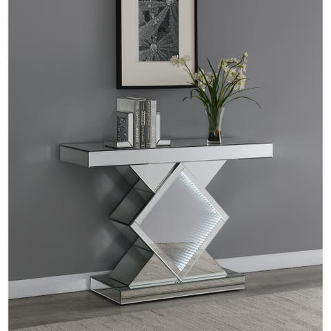 Silver Console Table with LED Lighting