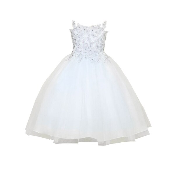 Shop little girls white silver embroidery strap flower girl dress little girls white silver embroidery strap flower girl dress mightylinksfo