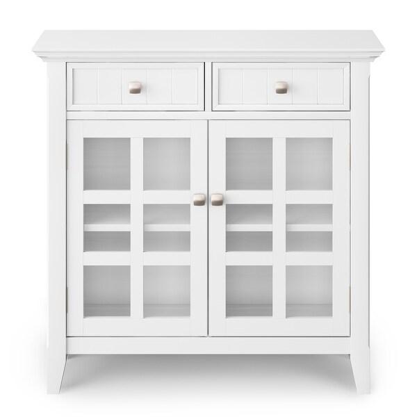Sideboard 2 Drawer Cupboard Wooden Top Painted White Hallway Storage Unit