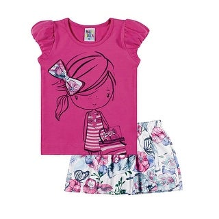 Toddler Girl Outfit Graphic Tee Shirt and Skort Set Pulla Bulla Sizes 1-3 Years