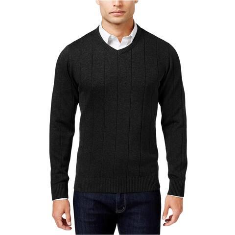 John Ashford Mens V-Neck Striped-Texture Knit Sweater