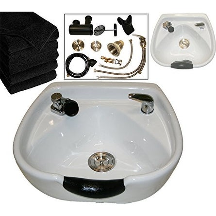 LCL Beauty Heart Shaped Ceramic White Shampoo Bowl with Vacuum Breaker and 6 Towels