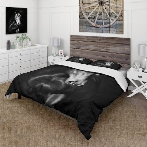 Designart 'Portrait Of Black Kladruby Horse' Farmhouse Duvet Cover Set