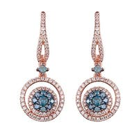 Prism Jewel 1.18CT G-H/SI1 Blue Diamond & Natural Diamond Latch Back Earring, 14k Rose Gold - White G-H