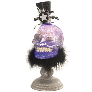 """12"""" LED Lighted Festive Skull with Top Hat Halloween Glitter Dome - Clear"""