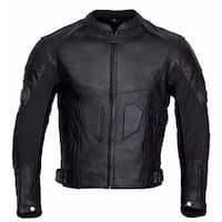 Men Motorcycle Biker Armor Leather Jacket Black MBJ021