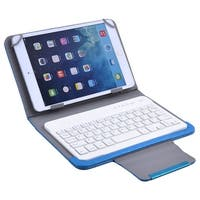 Unique Bargains PU Leather Wireless Keyboard Leather Cover Case Blue for 7 Inch 8 Inch Tablet