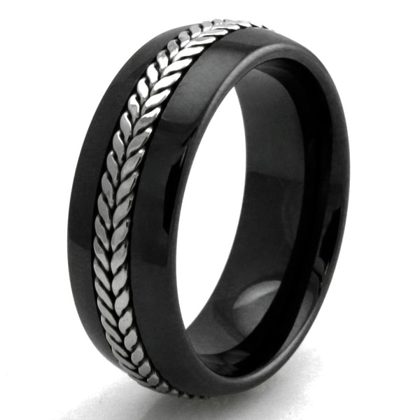 Men's Wheat Rope Inlay Design Ceramic Wedding/Anniversary Band