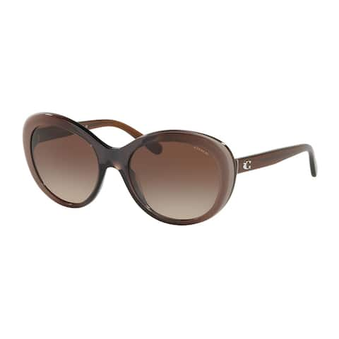 Coach HC8259 553413 54 Taupe Laminate Woman Oval Sunglasses - Brown