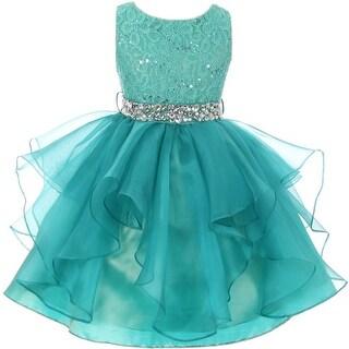 Flower Girl Dress Sequin Lace Top Ruffle Skirt Jade MBK 357