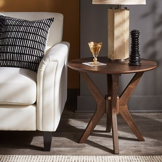 Link to Todd Mid-Century Walnut Finish Round End Table by iNSPIRE Q Modern - End Table Similar Items in Living Room Furniture