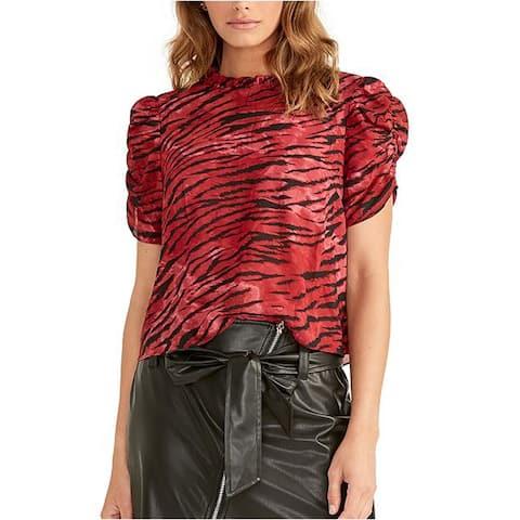 Rachel Roy Hanna Ruched-Sleeve Top, Red, Medium