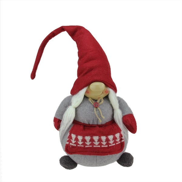 """20"""" Grinning Female Gnome Decoration with Red Apron and Twine Bow"""