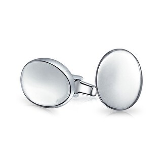 Bling Jewelry Mens 925 Sterling Silver Oval Disc Modern Cufflinks