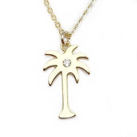Julieta Jewelry Palm Tree CZ Charm Necklace