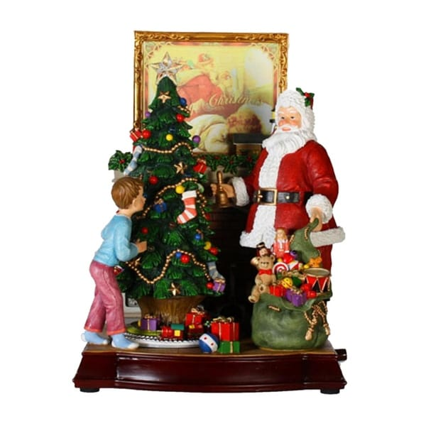 "12"" Animated and Musical Santa Claus with Christmas Tree and Fireplace Music Box - brown"