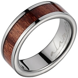 Titanium Wedding Band With Koa Wood Inlay 6 mm
