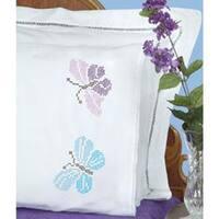 Xx Butterflies - Stamped Pillowcases W/White Lace Edge 2/Pkg