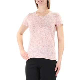 Link to MAX STUDIO Womens Pink Short Sleeve Jewel Neck Top  Size M Similar Items in Tops