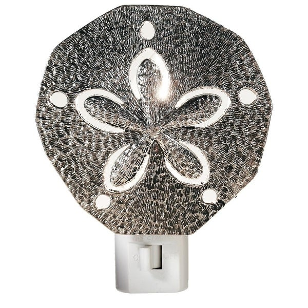 "Set of 4 LED Silver Metal Sea Sand Dollar Night Lights 4"" - Off white"