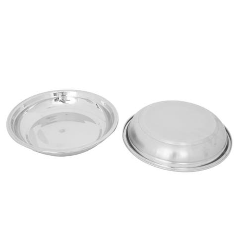Restaurant Stainless Steel Round Food Soup Storage Bowl Container Silver Tone 2pcs