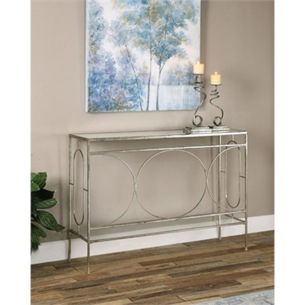 "48"" Geometrically Inspired Heavily Distressed Silver Leafed Iron 2-Tier Decorative Console Table - N/A"