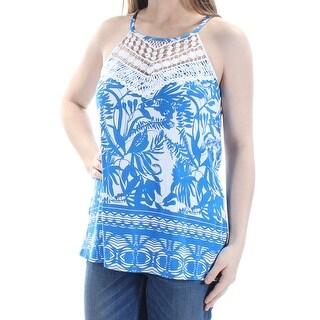 INC $69 Womens New 1267 Blue Ivory Floral Lace Rhinestone Top S B+B
