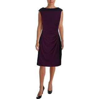 Lauren Ralph Lauren Womens Petites Matte Jersey Colorblock Wear to Work Dress - 16p