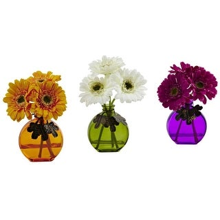 Nearly Natural Gerber Daisy with Colored Vase Arrangement - Set of 3