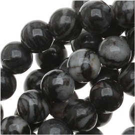 Matrix/Picasso Black Jasper Round Beads 4mm / 15.5 Inch Strand