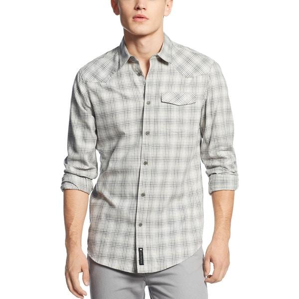 Calvin Klein CK Modern Fit Shirt X-Large Sterling Gray Heather Plaid