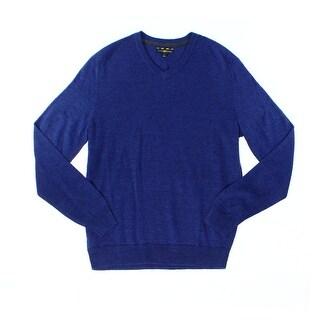 Club Room NEW Blue Mens Size Medium M V-Neck Ribbed-Knit Wool Sweater