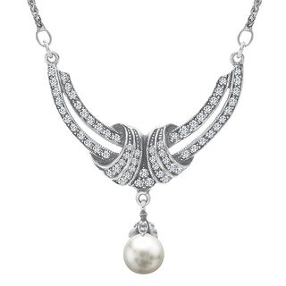 Van Kempen Simulated Pearl Crescent Necklace with Swarovski Crystals in Sterling Silver