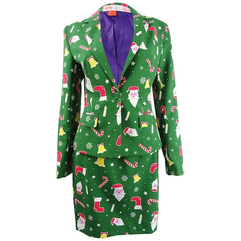 OppoSuits Women's One-Button Printed Holiday Skirt Suit (8, Santababe) - Santababe - 8