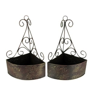 Brown Gold Embossed Tin Wall Mount Corner Baskets Set of 2 - 12.75 X 9 X 6.5 inches