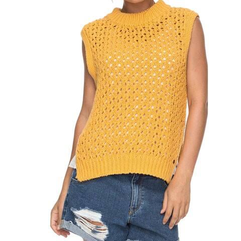 Roxy Womens Yellow Size Small S Open Knit Sleeveless Crewneck Sweater